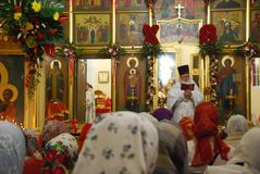 Service in the Orthodox Church. Prayer. Great Orthodox holiday Easter. Service in the cathedral of Vladivostok. Russia stock images
