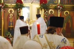 Service in the Orthodox Church. Priests stock image