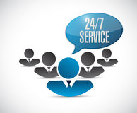 24-7 service people sign concept illustration Royalty Free Stock Images