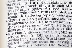 Service perform help military repair dictionary. Definition maintenance interest debt page printed stock photos