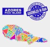 Service Pico Island Map de mosaïque et rayé réuni dans le joint de timbre de l'Iran illustration stock