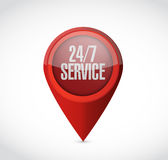 24-7 service pointer sign concept illustration Royalty Free Stock Image