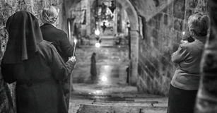 Service Prayers at the  Church of the Holy Sepulchre. Stock Photo