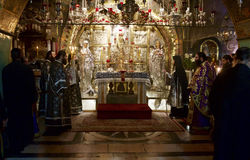 Service Prayers at the  Church of the Holy Sepulchre. Royalty Free Stock Photos
