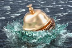 Service problem concept, reception bell drowning in the sea. 3D Royalty Free Stock Photography