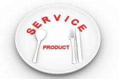 Service Product  plate, knife and fork Stock Photo