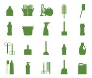 Service professionnel de domestique, approvisionnements de portier, collection à la maison d'équipement de corvées illustration stock