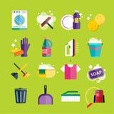 Service propre réglé de vecteur d'icônes de nettoyage Photographie stock