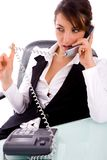 Service provider communicating on phone Royalty Free Stock Photo