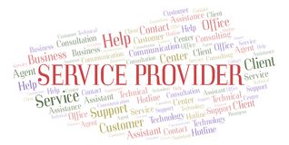 Service Provider word cloud. Wordcloud made with text only stock illustration