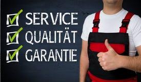 Service Qualitaet, Garantie i tyskservice, kvalitet, warra arkivbild