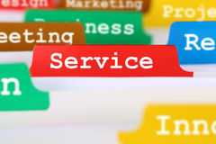 Service quality office text on register in business services doc. Good service quality text in office on register in business services documents Royalty Free Stock Images
