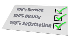 Service Quality Satisfaction Check List. Check list, 100% service, 100% quality and 100% satisfaction Stock Photos