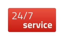 24/7 service Röd symbol också vektor för coreldrawillustration Ljus bakgrund Royaltyfri Fotografi