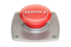 Service red button, 3D rendering. Isolated on white background Stock Photo