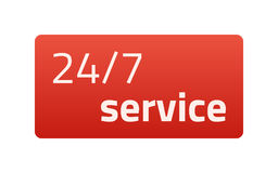 24/7 service. Red Icon. Vector illustration. Light background. Royalty Free Stock Photography