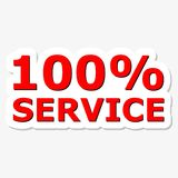 100% Service Red Sign. On gray background Stock Image