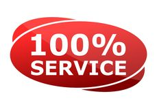 100% Service red sign. Vector icon Royalty Free Stock Photo