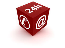 24 Service - red. Symbol to show service availability around the clock Royalty Free Stock Photos