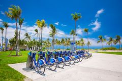 Service rental bicycles on the South Beach from City Bank. royalty free stock photos
