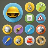 Service and repair icons. Service and repair, long shadow icons set Stock Photography