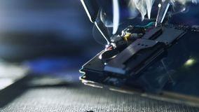 Service repair shop broken phone wires soldering stock video footage