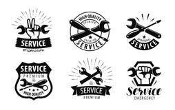 Service, reparationsuppsättning av logoer eller etiketter symbol för underhållsarbete också vektor för coreldrawillustration Royaltyfri Foto