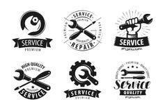 Service, Reparatursatz Aufkleber oder Logos Wartungsarbeitenikone Vektor Lizenzfreies Stockfoto