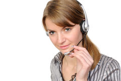 service representative in headset. Female friendly  customer service representative using headset against a white background Stock Photography
