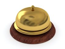 Service ring golden bell on wooden stand Stock Photography
