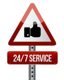 24-7 service road sign concept Stock Images