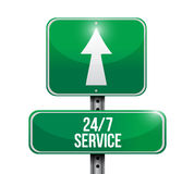 24-7 service road sign concept Royalty Free Stock Photography