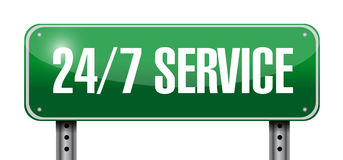 24-7 service road sign concept Stock Photo
