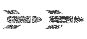 Mosaic Rocket Icons of Repair Tools royalty free illustration