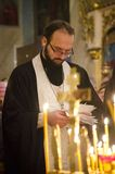 Service in the Russian Orthodox Church. Royalty Free Stock Image