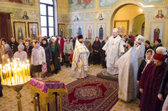 Service in the Russian Orthodox Church. Royalty Free Stock Photos