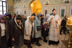 Service in the Russian Orthodox Church. Royalty Free Stock Photography