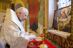Service in the Russian Orthodox Church. Stock Photos