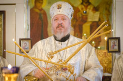 Service in the Russian Orthodox Church. Royalty Free Stock Images