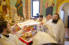 Service in the Russian Orthodox Church. Stock Photo