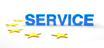 Service. With satrs a 3D rendering Stock Photography
