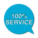 100% service with shadow, Speech Bubble. Speech Bubble 100% service with shadow, vector icon Royalty Free Stock Photography