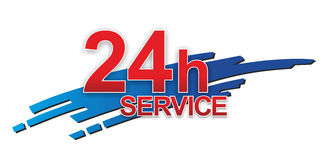 Service sign. Abstract sign for 24 hour service or support Royalty Free Stock Image