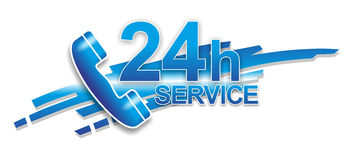 Service sign. Abstract sign for 24 hour service via telephone Stock Photo