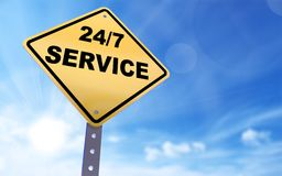 24/7 service sign. On blue sky background,3d rendered Stock Photography