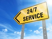 24/7 service sign. On blue sky background,3d rendered Stock Photos