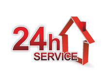Service sign. Illustration of a 24 hour service for facility management Stock Images