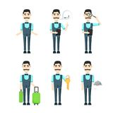 Service staff of the hotel and restaurant, cartoon character man. With a mustache Royalty Free Stock Images