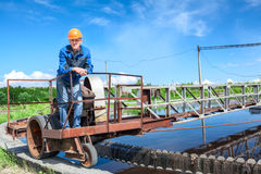 Service staff of water treatment plant on the work Royalty Free Stock Images
