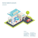 Service station and car washing. 3D isometric Stock Photo